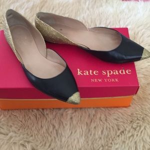 Kate Spade black leather and glitter gold flats